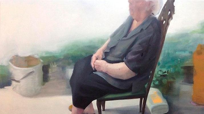 Esperando el rayo verde de luz - Óleo sobre lienzo - 195 x 195 cm. 2013
