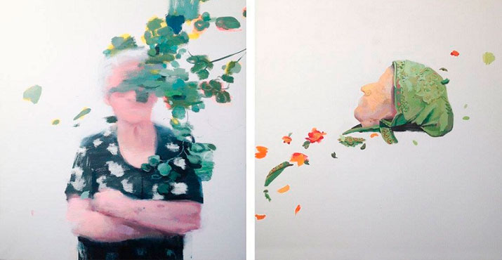 Flores - India - Óleo sobre lienzo - acrílico sobre lienzo - 100 x 81 cm - 2014 - 2015